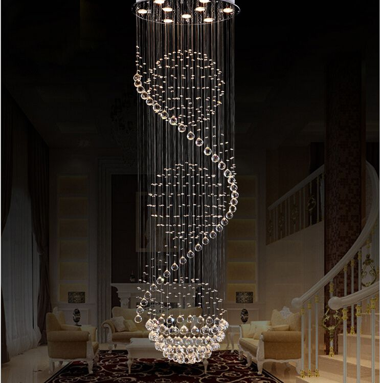 Modern K9 Crystal Chandelier Rotating Staircase Duplex Villa Living Room Lamp Ball Chandeliers In Chandelie Ceiling Light Design Ceiling Lights Ceiling Design