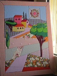 Um quadro em patchwork feito com muito carinho, para uma grande senhora.