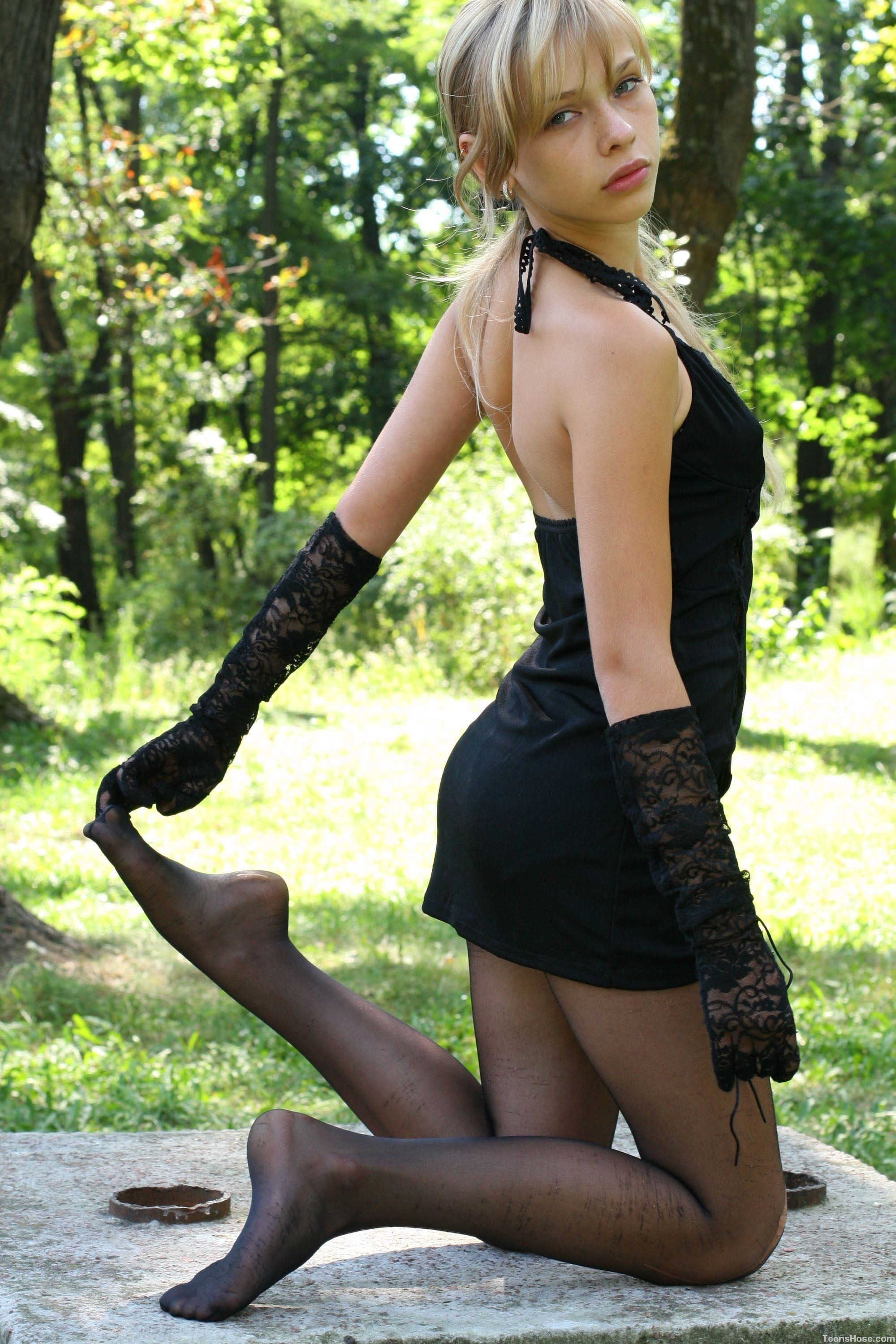 Pantyhose outdoors - More pictures here: http