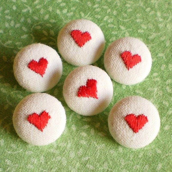 Fabric Buttons - Be My Valentine - 6 Small Embroidered Red Hearts Beige Fabric Covered Buttons. $4.00, via Etsy.