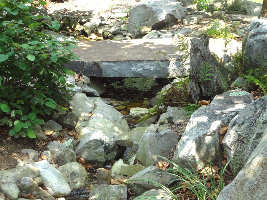 Landscape Rock Bridge Bridge Rocks Spans A Water Garden