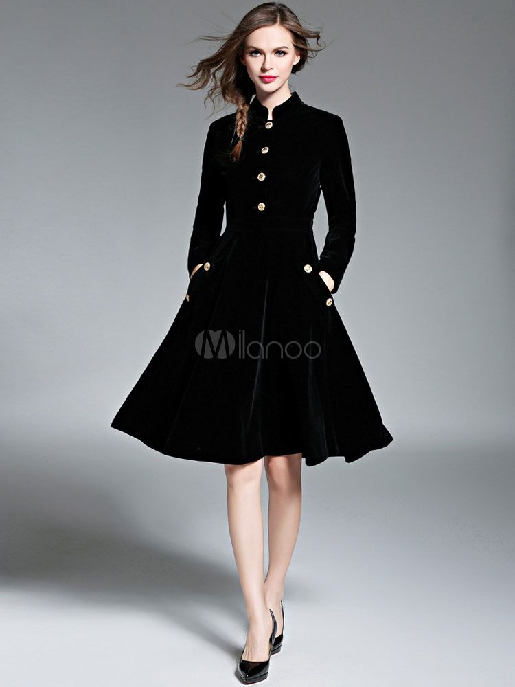 Women Fit And Flare Coat Black Velour Vintage Long Sleeve Stand Collar  Button Winter Overcoat 39df88067343