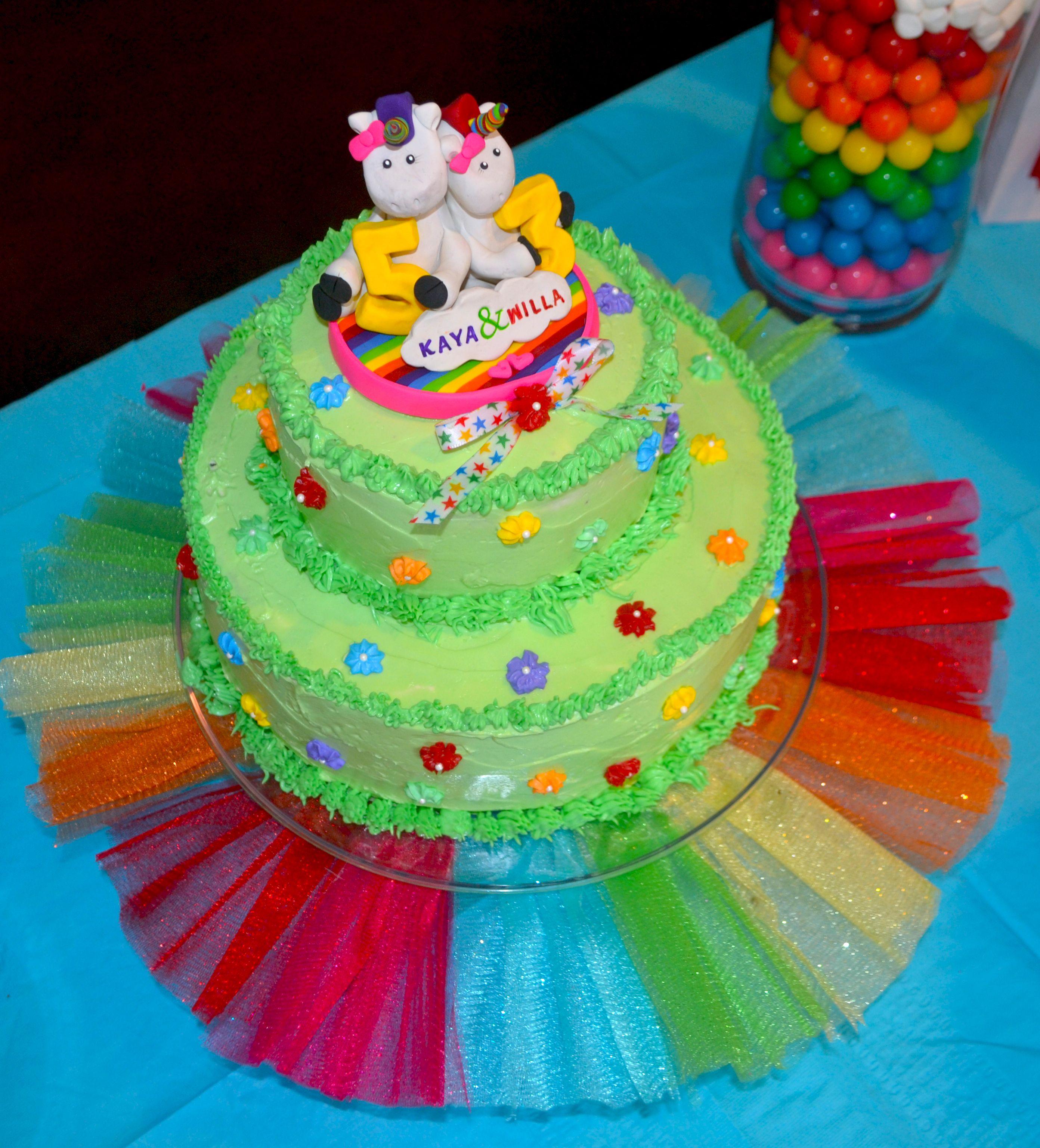 Unicorn Rainbow Cake With Rainbow Tulle Base Cakes By