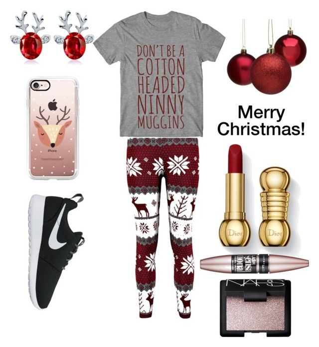 """""""It's Christmas! """" by gracies12 ❤ liked on Polyvore featuring NIKE, Casetify, Maybelline, NARS Cosmetics, Christmas and trndsttr"""