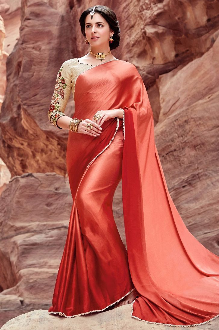 93d6e7af65682b This Super Stylish Satin,Silk Fabric Saree Is Exclusively Crafted With  Embroidery,Lace Work Work. The Peach,Brown Colour Saree Comes With Matching  Blouse ...