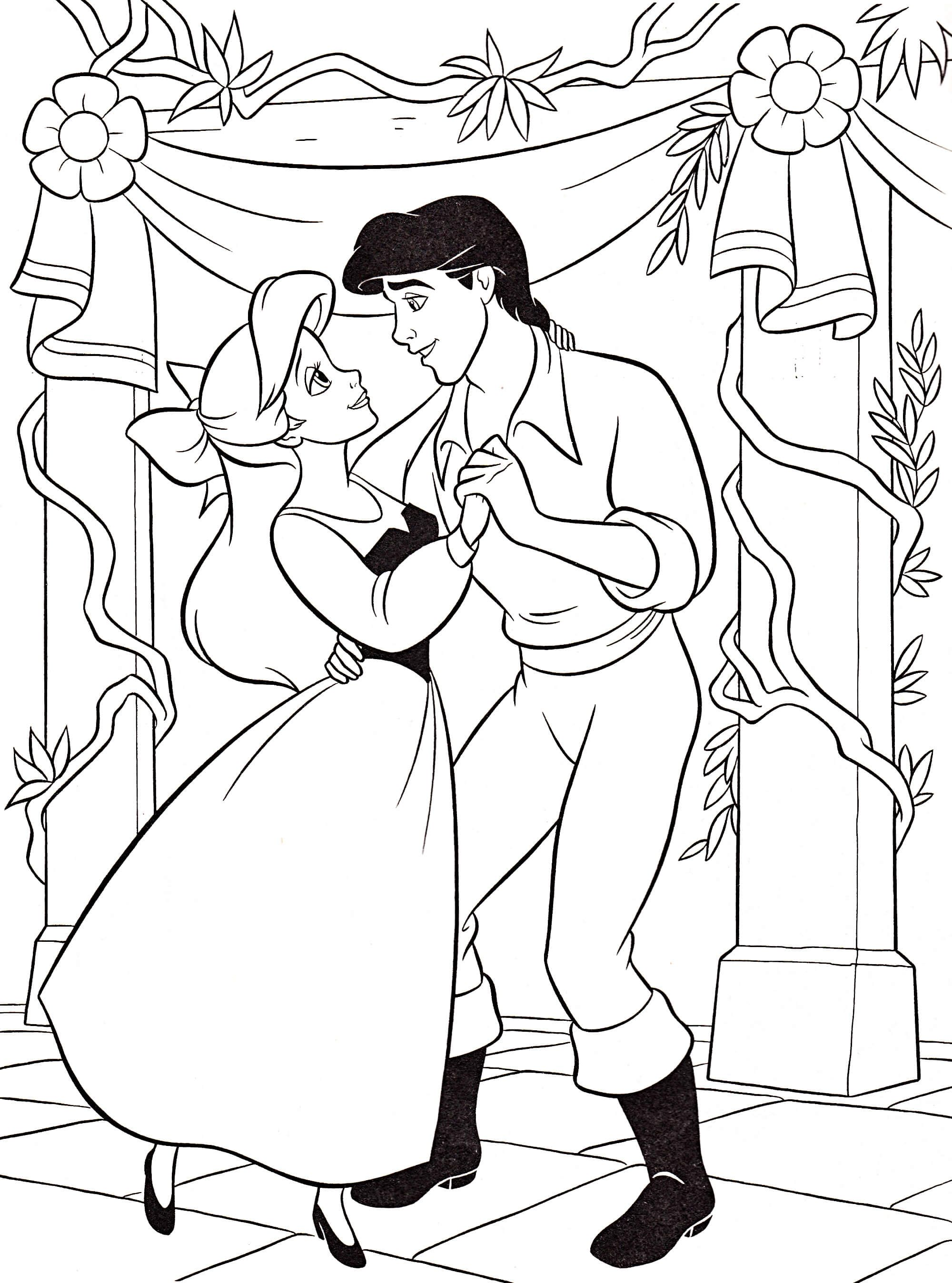 image disney princess coloring pages ariel and eric