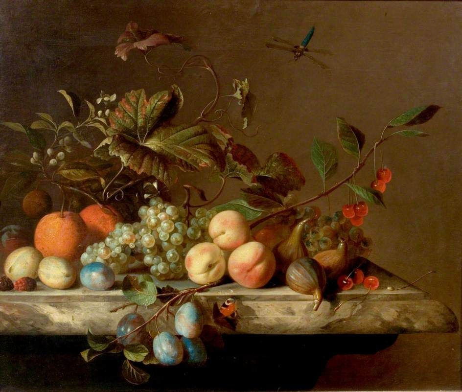 Fruit Piece With Dragonfly By Barend Van Der Meer Nottingham City Museums And Galleries Date Painted 1692 Oil On Canvas 64 1 X 75 6 Cm Collection Nott Konst