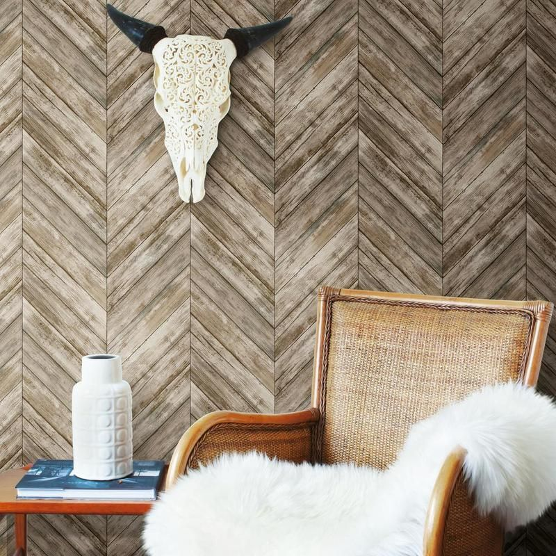 Brown Chevron Wood Boards Peel And Stick Wallpaper In 2020 Herringbone Wood Peel And Stick Wallpaper Wood Accents