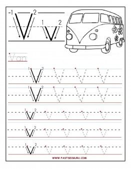 Free Printable letter V tracing worksheets for preschool.free ...