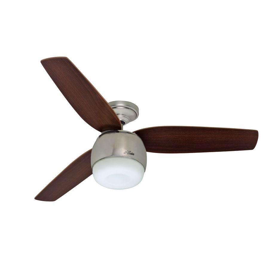 Shop hunter 52 in infiniti brushed nickel ceiling fan with led shop hunter 52 in infiniti brushed nickel ceiling fan with led light kit at lowes mozeypictures Images
