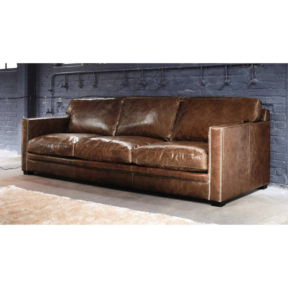 Canape 4 5 Places En Cuir Marron Dandy Sofa Leather Sofa Sofa