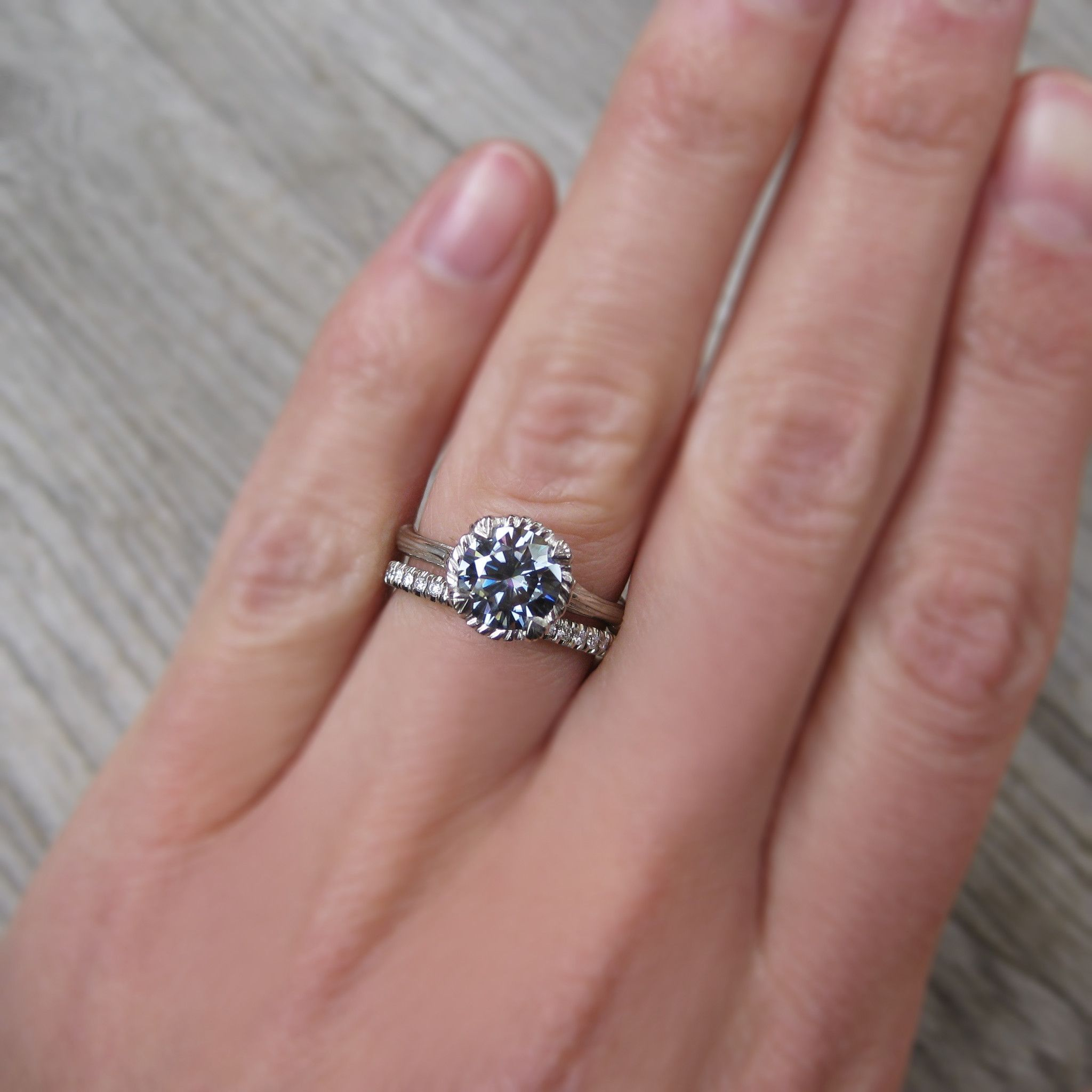 Dark Grey Moissanite Twig Engagement Ring, Carved Floral Setting ...