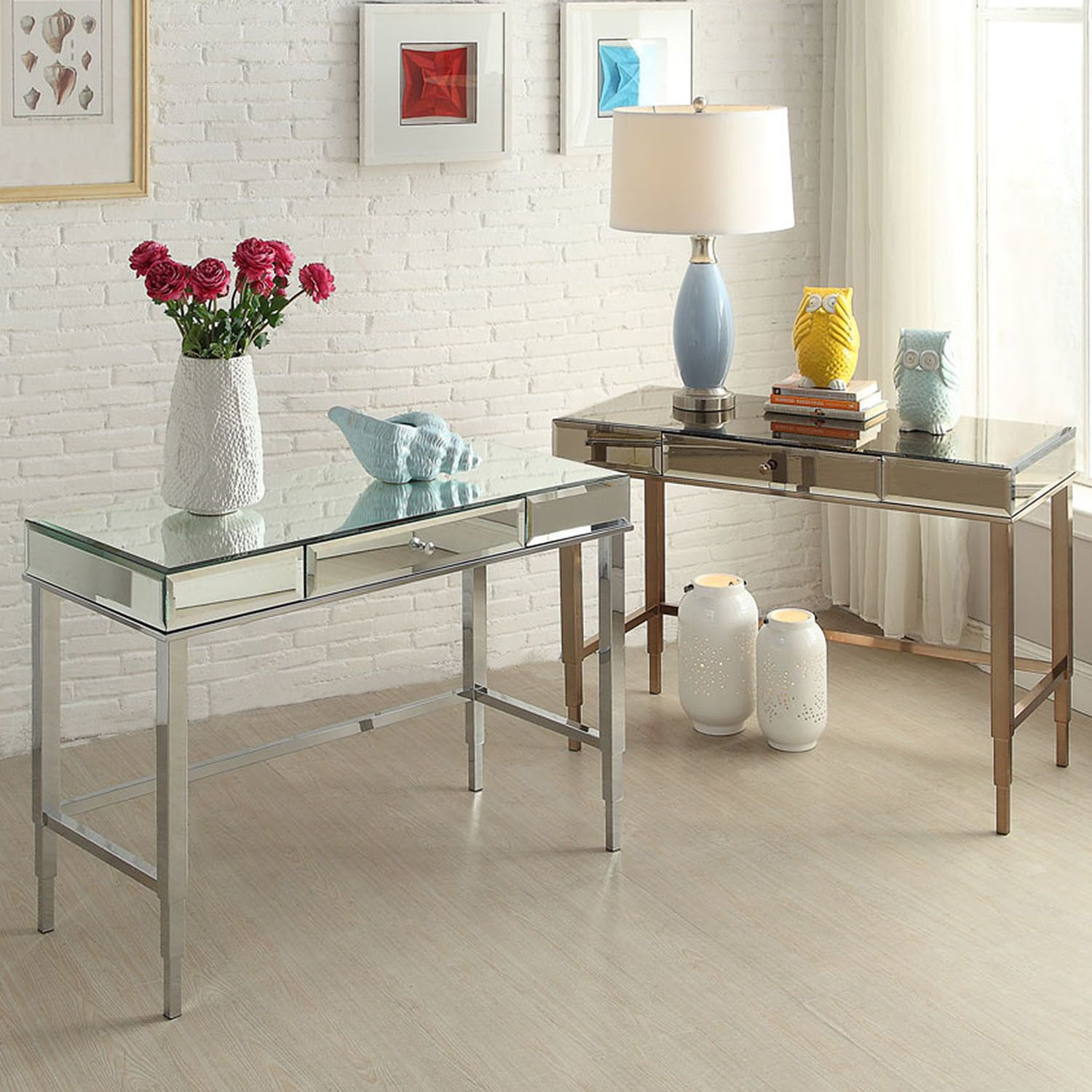 Camille Beveled Mirrored Accent 1-drawer Office Writing Desk by INSPIRE Q  by INSPIRE Q