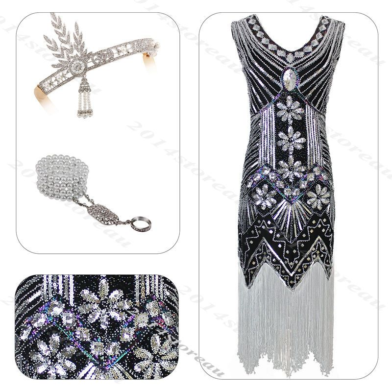 9616edaf6771 1920S Flapper Dress Great Gatsby Vintage Sequin Costume 20S Charleston  Fringe