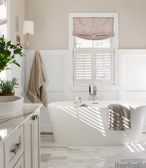 The Tub Is Almost 25 Inches High, So You Can Completely Submerge Your Body.  Gray Bathroom By Erin Paige Pitts.