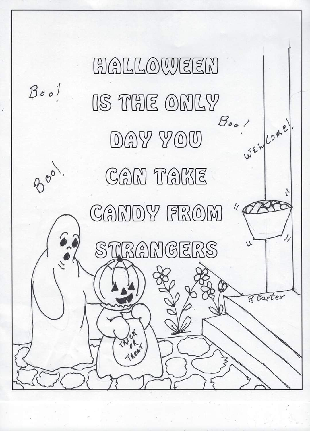 Boo Halloween Coloring Pages