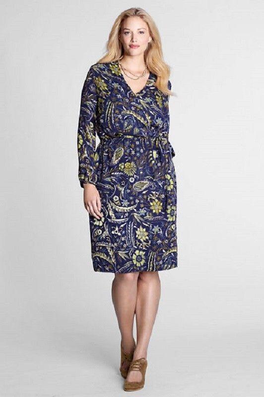 63abed871a0 Lands  End Petite Plus Georgette Wrap Dress 3 4 Sleeve Floral 20W 22W 26W  NEW  LandsEnd  WrapDress  Casual