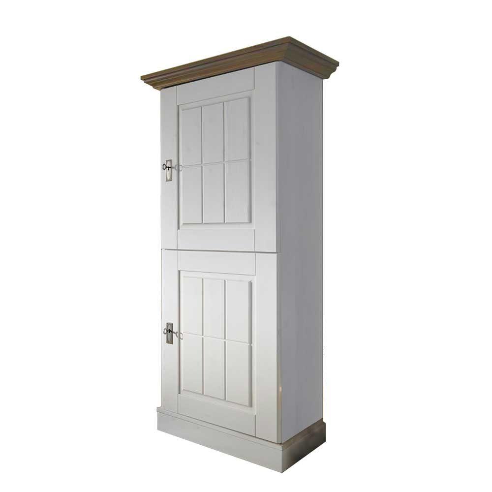 Seitenschrank in Weiß Kiefer massiv Landhausstil wohnzimmerschrank ...