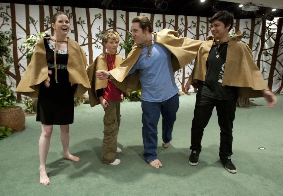 "(The Salt Lake Tribune)  Calvary Chapel Church youth rehearse for their upcoming play, ""Once Upon A Forest,"" a group of ""whimsical Christian Fairy Tales"" at the chapel on Tuesday April 9, 2013."