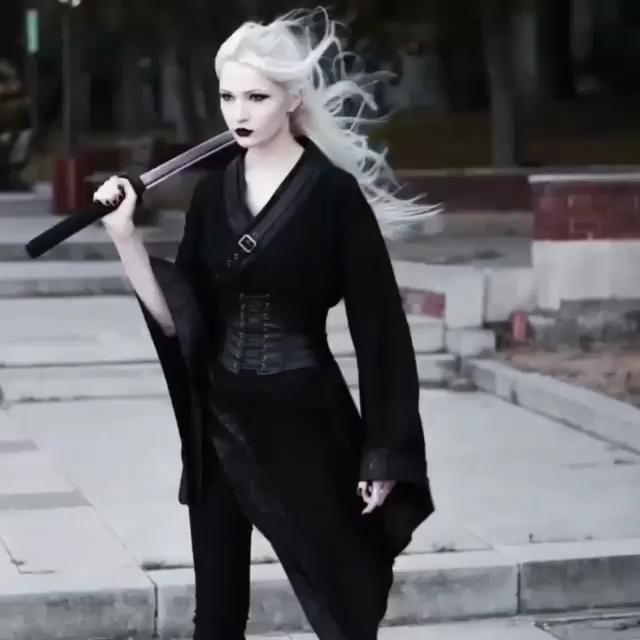 Photo of Dark Gothic Punk Asymmetric Kimono For Women