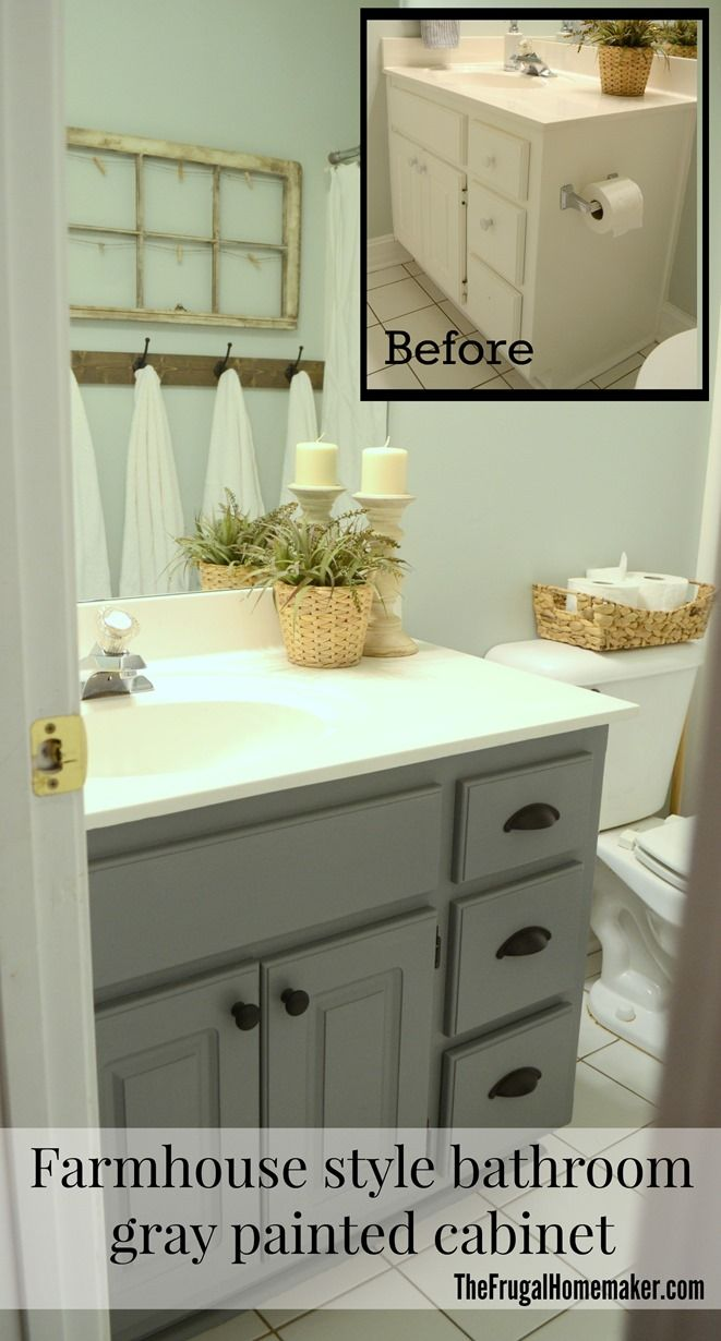 Our cup pulls in this gray farmhouse style bathroom makeover from ...