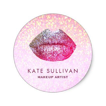 faux glitter glam lips classic round sticker - lip gifts unique lips style cyo personalize