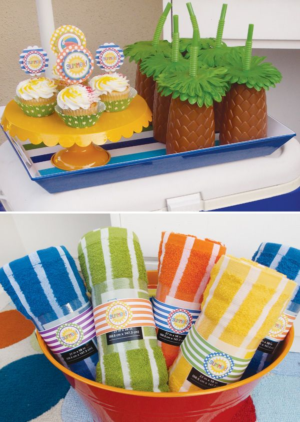 Pool Party Favors Ideas diy party favors i made these for my boys swimming birthday party the kids Summer Pool Party Towels