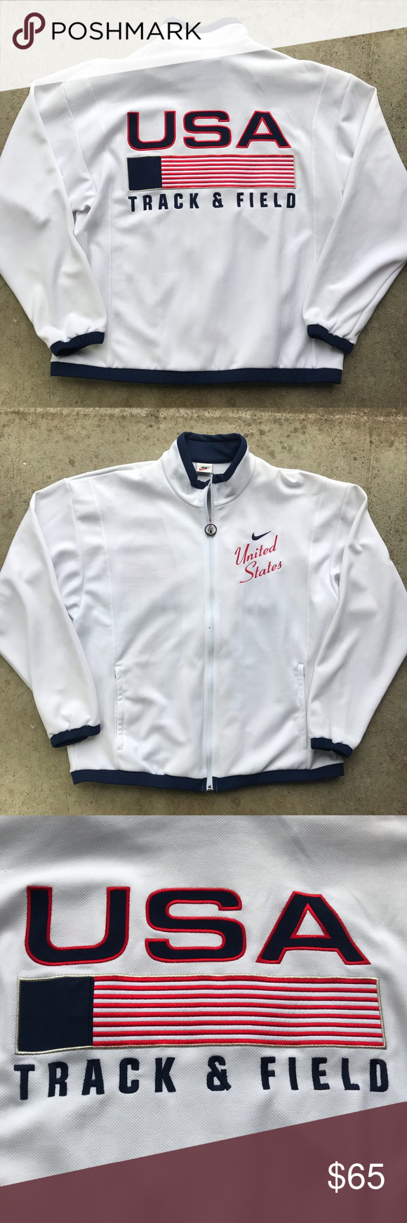 Vintage Nike Usatf Jacket 1996 Olympics This Is The Original 1996 Usa Made Olympic Nike Team Usa Track And Field Warm Up Vintage Nike Jackets Clothes Design [ 1740 x 580 Pixel ]