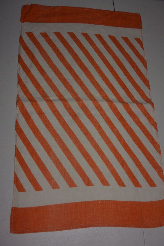 Orange And White Striped Tea Towel By Uniquethrifts On Etsy 9 00