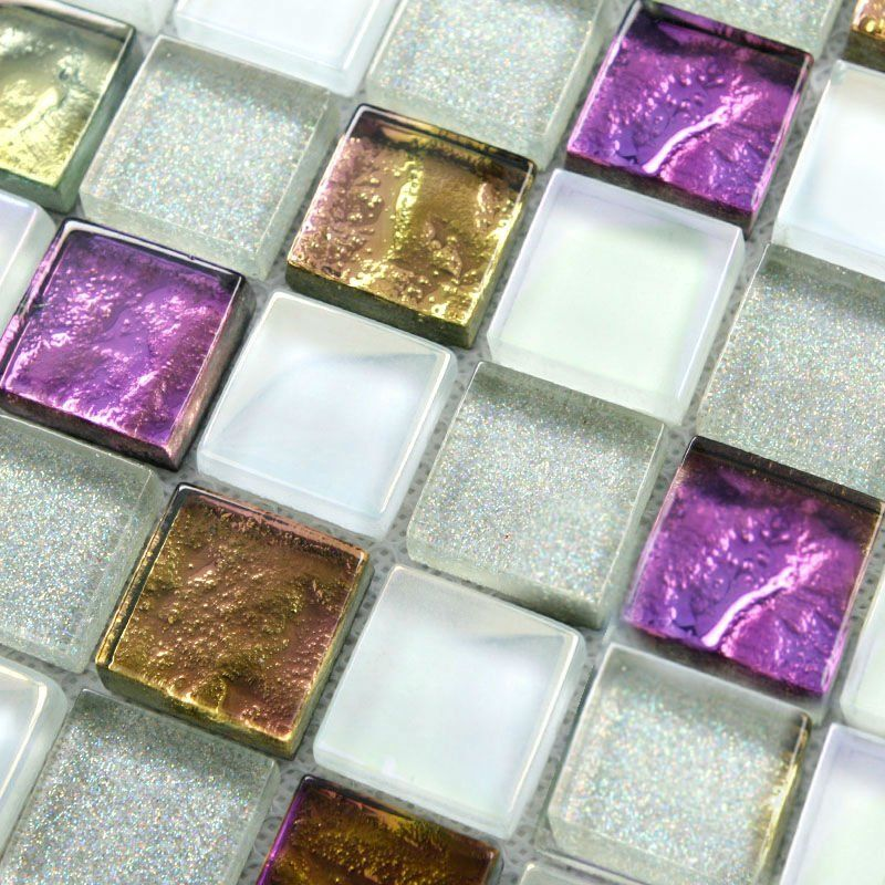 Purple Tile Backsplash Glass Mosaic Art Kitchen Tiles: Crystal Glass Tile Sheets Square Tiling Mosaic Art Metal