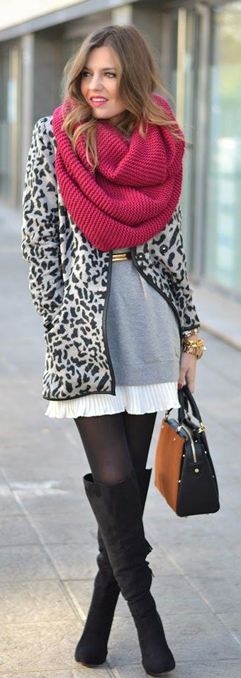 Grey Leopard Printed Coat With Burgundy Scarf And Black