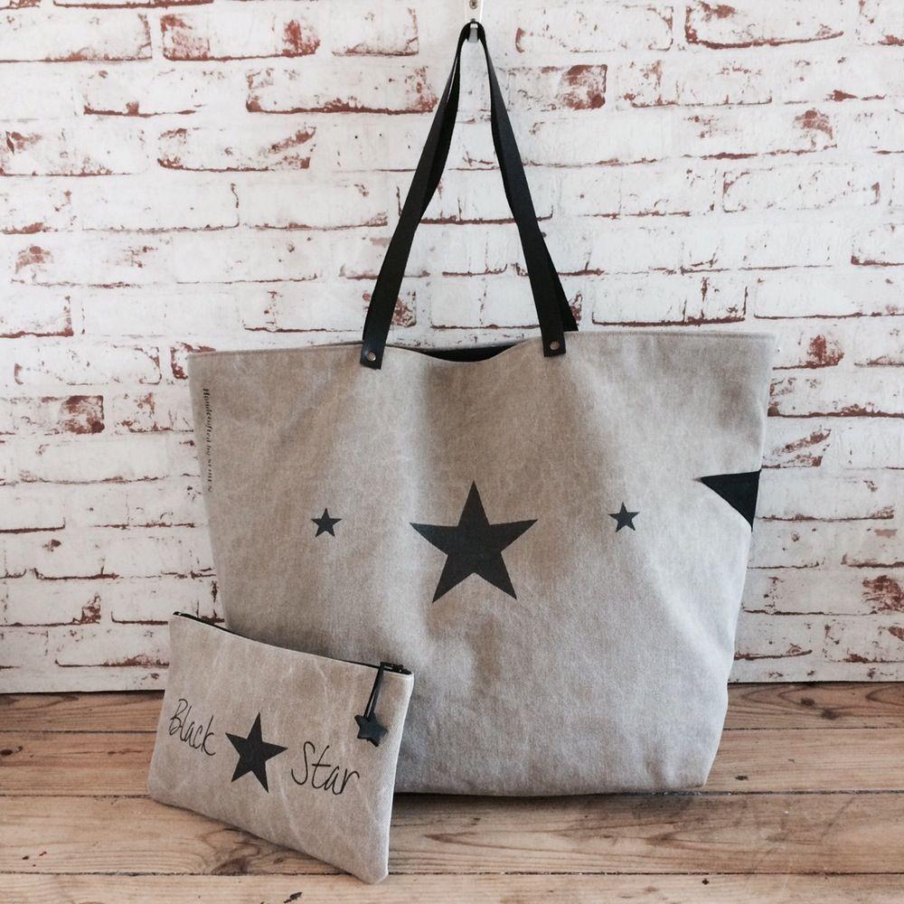 image of black star ensemble grand sac plage week end et sa pochette sur commande. Black Bedroom Furniture Sets. Home Design Ideas