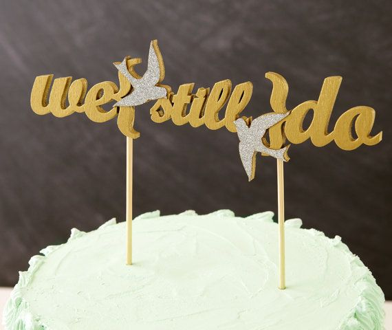 Vow Renewal Love Birds Cake Topper In Gold Ready By