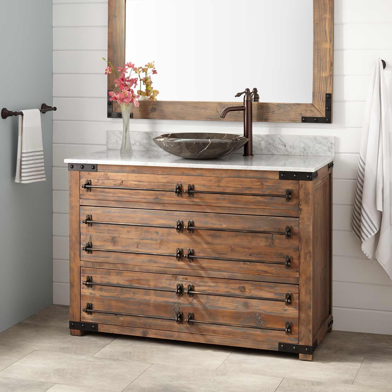 30 Bonner Reclaimed Wood Vanity For Semi Recessed Sink  Pine