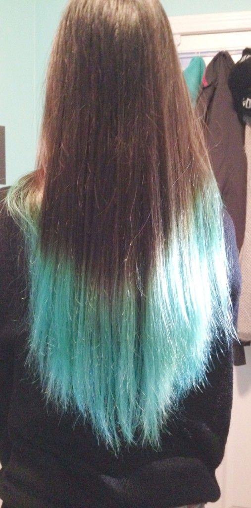 Karen S Turquoise Dip Dyed Ends Blue Tips Hair Dip Dye Hair