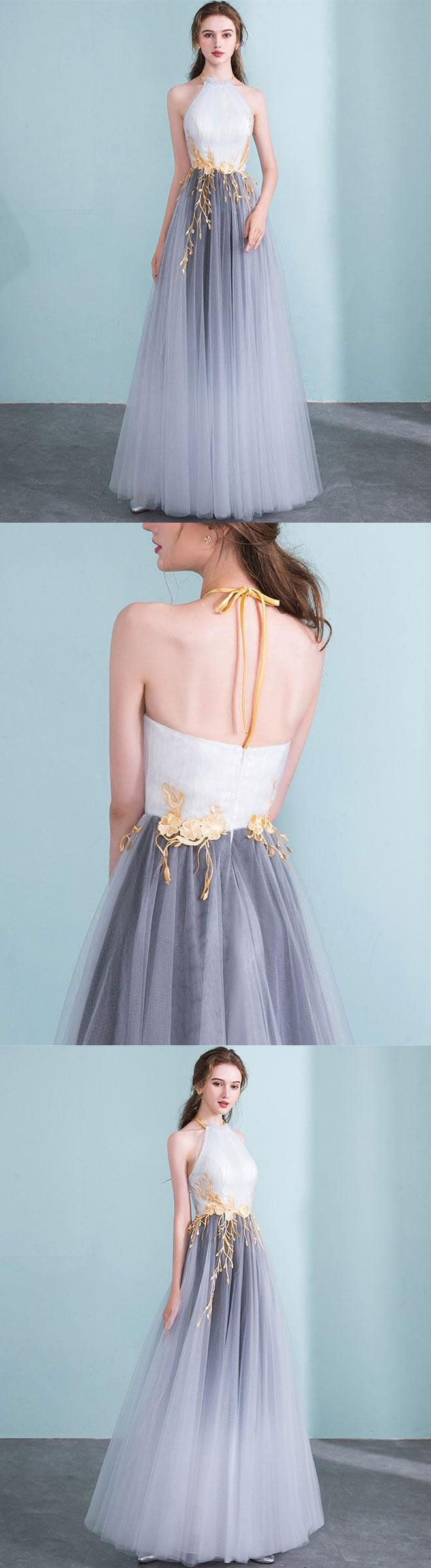 Gray gradient tulle long prom dress gray evening dress in