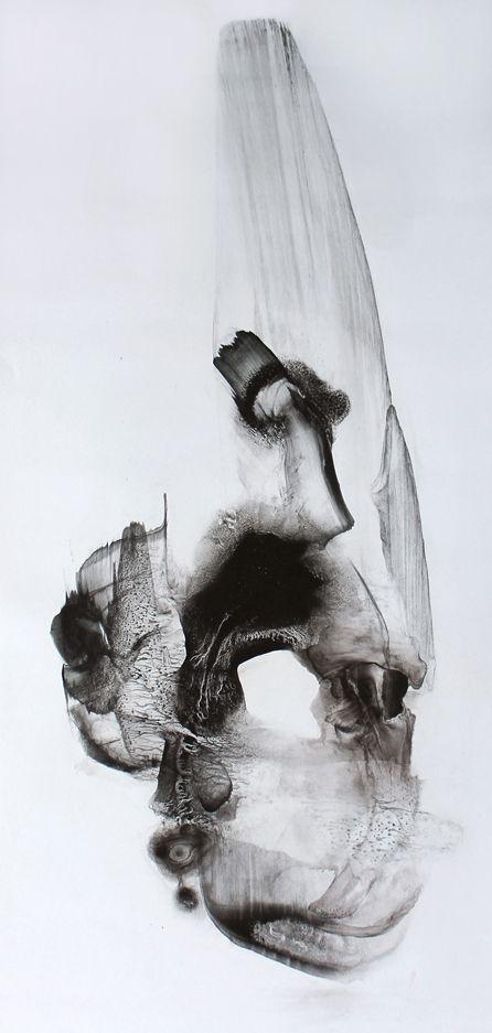 "Patti Jordan - ""Shouldered"" (Corpus 015)  2011   Ink + Graphite on Paper 53"" x 26"""