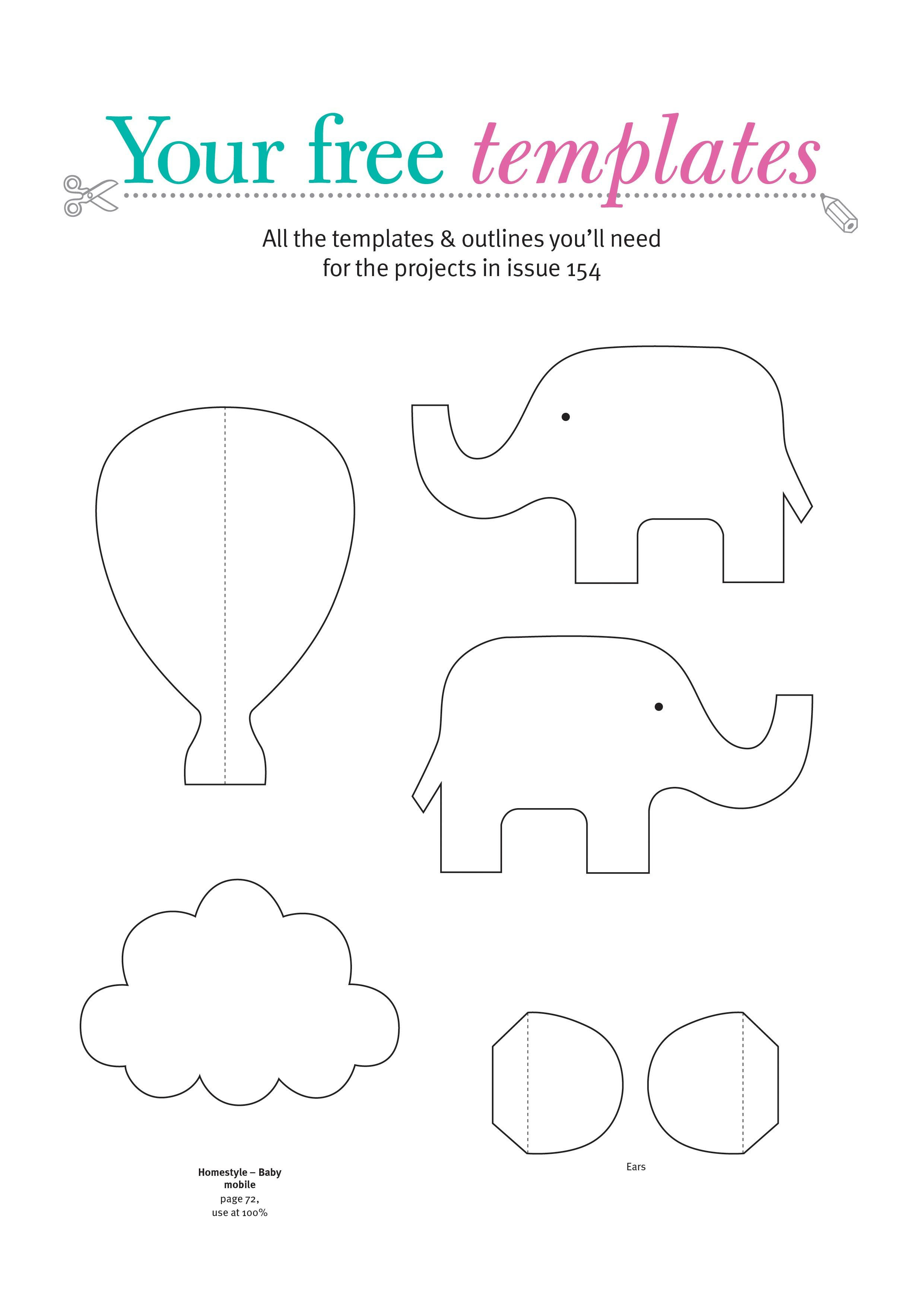 This is a picture of Decisive Free Printable Baby Elephant Template