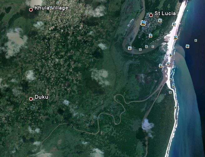 Satellite Photo of the St Lucia area in northern KZN South Africa