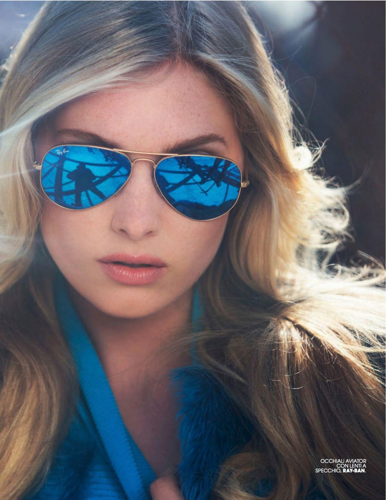 Elsa Hosk in RayBan Aviators Sunglasses RB3025 BLUE LENSES