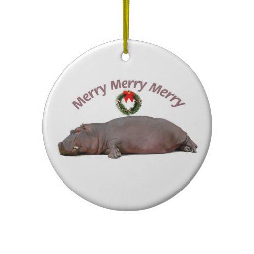 Hippo Merry Christmas Fun Christmas Tree Ornaments Hippos