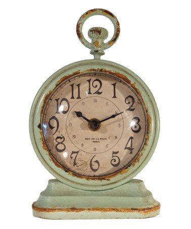 Blue Vintage Table Clock #zulilyfinds