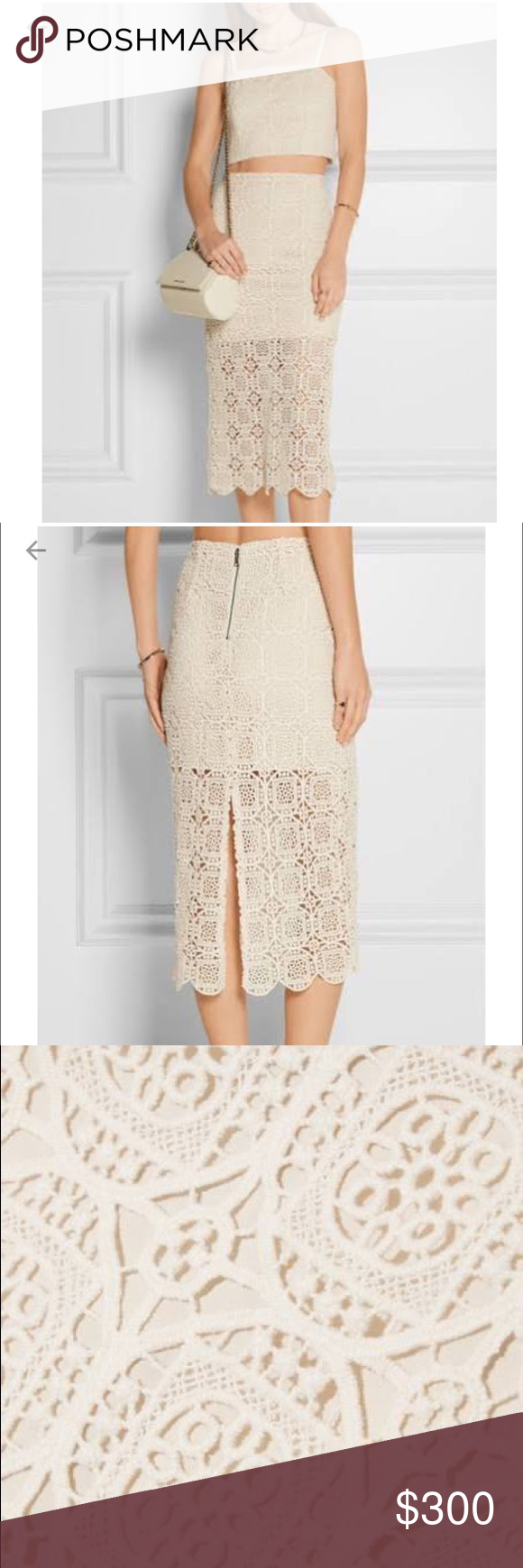 Alice & Olivia Crochet skirt. Alice Olivia's 'Khiara' skirt is made from cream crocheted cotton and designed to sit at the smallest part of your waist. Finished with a pretty scalloped trim, this vintage-inspired style has a mini-length lining that tempers the sheer finish. Complete the look with the matching cropped top. Alice + Olivia Skirts Midi