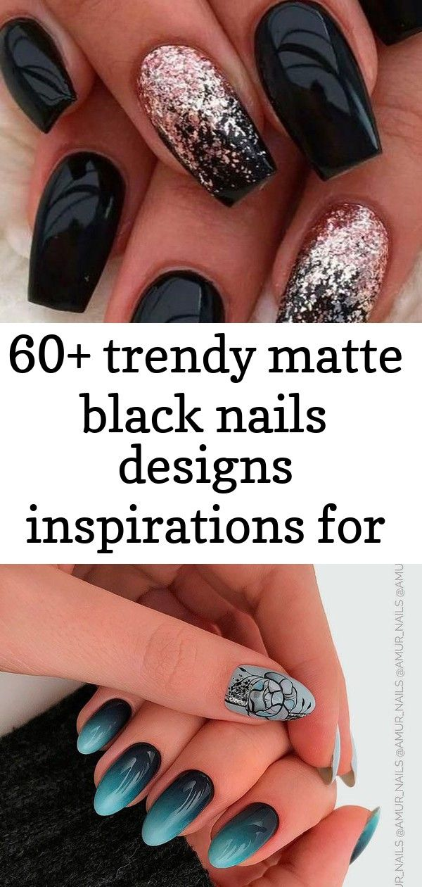 60+ trendy matte black nails designs inspirations for ladies 10