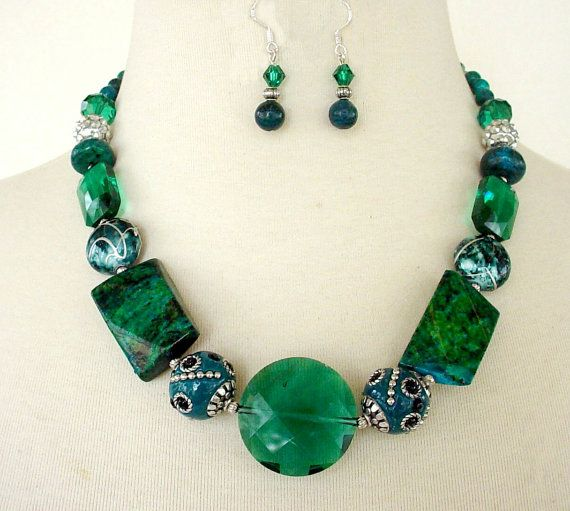 blue bib lime set turquoise green necklace