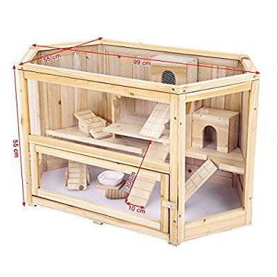 Songmics Xl Large Wooden Hamster Cage Rodent House Deluxe Villa
