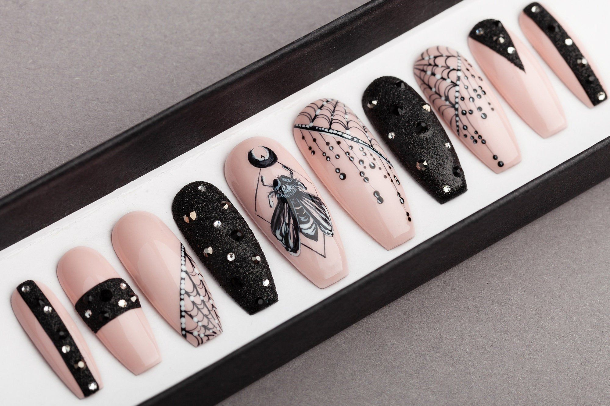 BarFly Press on Nails with Rhinestones  Gothic nails  Hand | Etsy