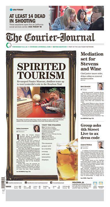 """Spirited Tourism"" Louisville Courier-Journal A1 designed by Jeff Morris. (12.03.15) #newsdesign"