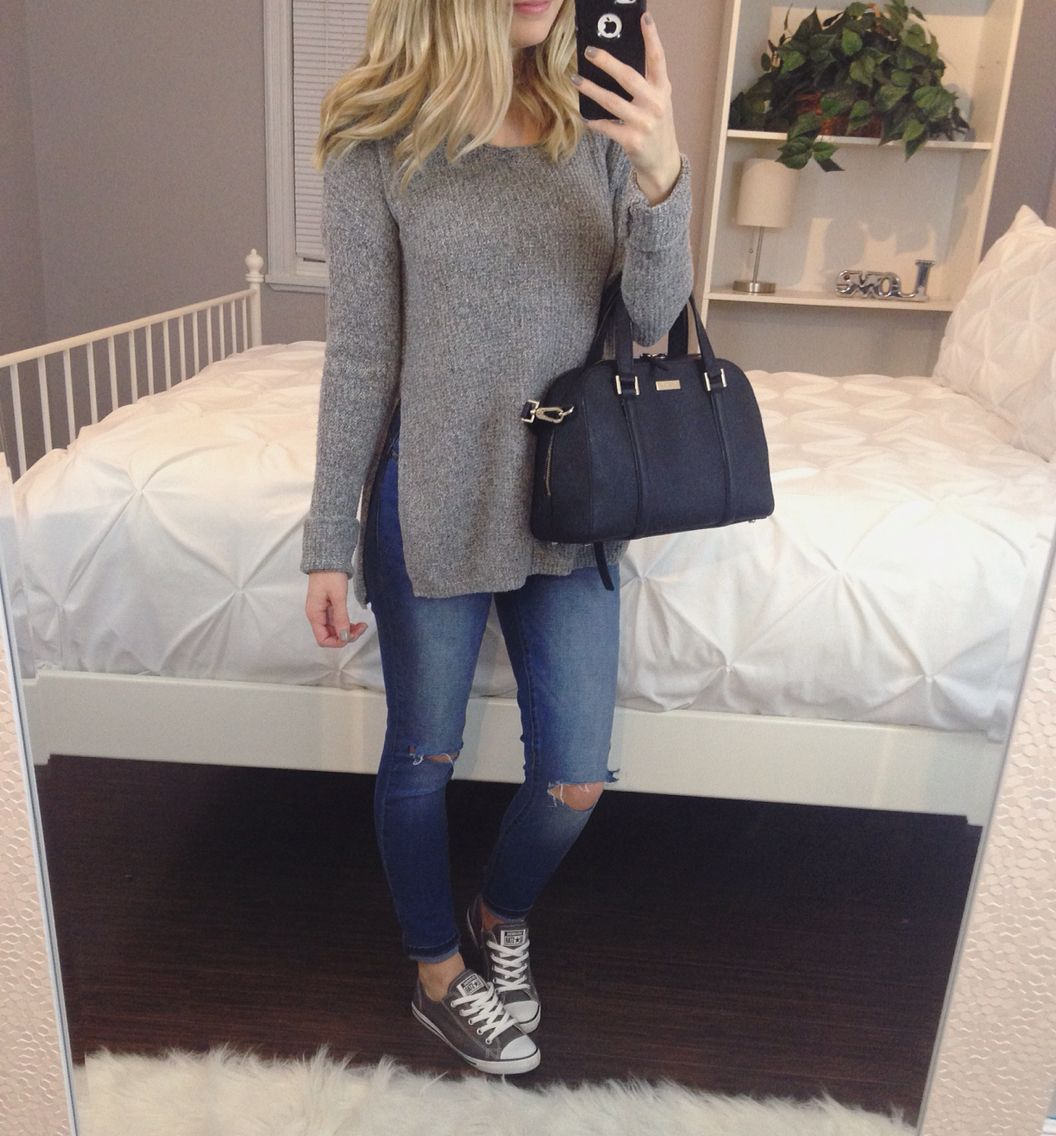 Grey converse outfit  bbe21520ca