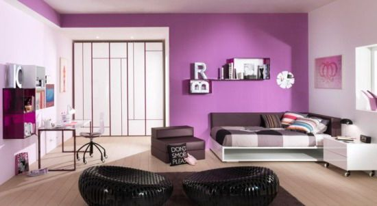 Enchanting Teenage Bedroom Designs Purple Decorating Design Of